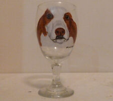 Brown & White Basset Hound Dog Ice Tea Glass Hand Painted Pet Lovers Boutique