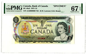 Bank of Canada, 1973 $1 Specimen Banknote BC-46aS, Lawson-Bouey PMG Sup Gem Unc