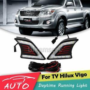 1Pair Car Daytime Running Light DRL LED Daylight Fog Lamp for Toyota Hilux Vigo 12-14 Daytime Running Light