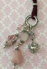 "NOVICA NWOT Rose Quartz Silver Plated Charm Corded 20"" Necklace"