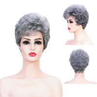 Natural Women Ladies Short Curly Wigs Silver Grey Classic Synthetic Hair Wigs