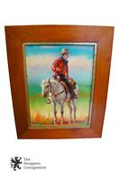 Cowboy on Horseback Oil Painting Portrait Signed Arthur Parks Art Wild West USA
