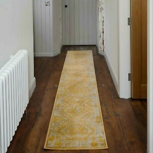 Mustard Hallway Runner Rug Yellow Traditional Medallion Distressed Look Hall Mat