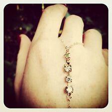 Tiny Gold Star/Rhinestone Finger-Bracelet/Slave-Bracelet 14k Gold filled chain