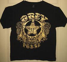 OBEY Shirt M Star Face Foil Logo Propaganda Posse Fairey Street OOP RARE HTF