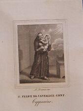 San Felice Cantalice acquaforte originale 1840 Rieti Banzo
