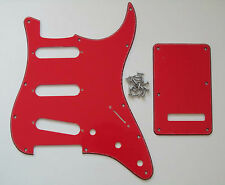 ST Strat Guitar Pickguard,Trem Cover and Screws SSS Red 3 Ply
