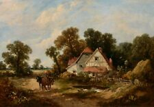 """Original J.E. MEADOWS """"Andover, Hampshire"""" Oil on Canvas Painting 16""""x24"""" Signed"""