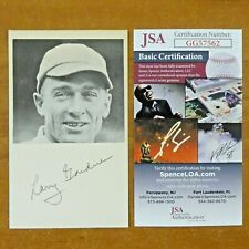 Larry Gardner Red Sox Played w/ Babe Ruth Signed 3x5 with JSA COA