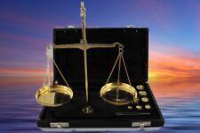 Waage Gewürz Gold Hasch Waage Lederbox L.22 cm mit Gewichten das Geschenk 50Gr