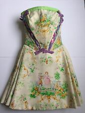GIANNI VERSACE COUTURE DRESS SIZE 0/ 00 18TH CENTURY PRINT XS VINTAGE 1990S MINT