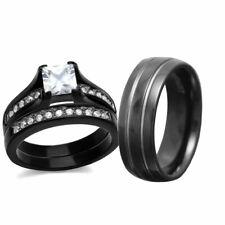 Zirconia Black Stainless Steel & Titanium cr His Hers Wedding Ring Set Cz Cubic