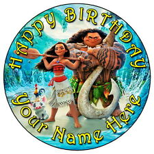 """MOANA & MAUI FUN PARTY - 7.5"""" PERSONALISED ROUND EDIBLE ICING CAKE TOPPER"""