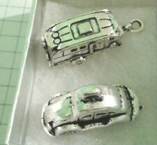 FANTASTIC MINIATURE TIBETAN SILVER CAR+CARAVAN  FOR  DOLLS HOUSE  ETC +POUCH