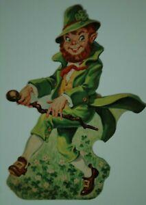 Vintage Dennison St Patrick's Day Die Cut Cutout Jaunty Leprechaun
