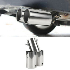 Universal 60mm Stainless Steel Car Dual Exhaust Pipe Trim Tip Tail Muffler 1PC