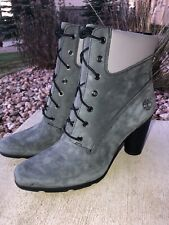 Womens Timberland Gray Nubuck Leather High Heel Lace Up Ankle Boots Size 9.5