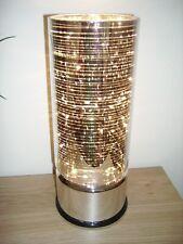 NUOVA Argento Specchio Cromato cilindro di vetro Lampada da tavolo da comodino lampada da tavolo luce Led