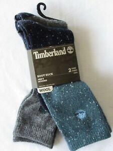 Timberland Mens Full Cushion Boot Socks Wool Blend Blue & Gray OSFM 2 Pair