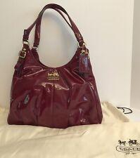 COACH Retail Madison Maggie Cranberry Patent Leather Shoulder Bag EUC w/dust bag