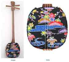 "NEW Japanese Shamisen SANSHIN Set ""Bingata Black"" Japan Okinawa Ryukyu F/S Japan"