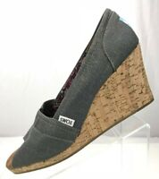 Toms Wedge Heels Stella Casual Cork Peep Toe Espadrilles Canvas Womens 11 Grey