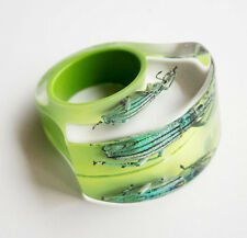 Funky designer bright green lucite ring with real insect size 7