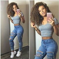 Women Pencil Stretch Casual Denim Skinny Pants High Waist Ripped Jeans New