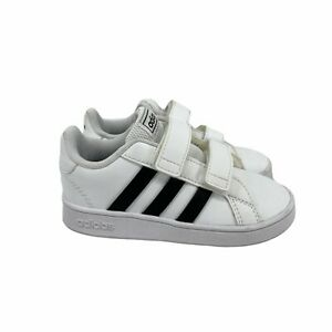 Adidas Kids Grand Court Casual Sneakers White Size 9 Hook-And-Loop Closure Strap