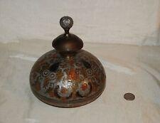 Vintage Penco Industries Brass Enamel Vase Pot Lidded Ornate Potpourri Incense