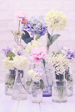 BEAUTIFUL RUSTIC FLORAL CANVAS PICTURE #43 STUNNING SHABBY CHIC FLOWERS CANVAS.