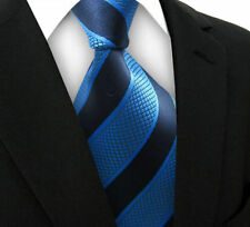 V169 Mens Classic Stripes Blue BLK JACQUARD WOVEN Tie  Silk Ties Necktie