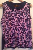 TU Size 16 Navy / Dusky Pink Contrast Patterned Sleeveless Top <BC1071z