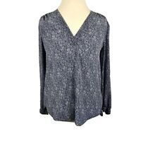 Rebecca Taylor Blue Raindrop Silk Blouse V-Neck Long Sleeve Top Size 4