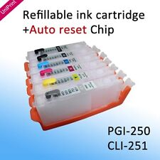 6PCS PGI-250 CLI-251  auto reset chip refillable cartridge MG6320 MG7120 MG7520