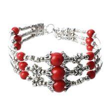 Tibet silver turquoise red Bangle Bracelet Q3J2