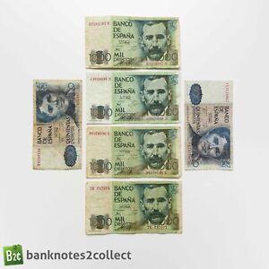 SPAIN: Set of 6 Spanish Peseta Banknotes.