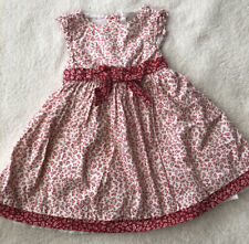 Baby Girl 9-12 Months Pretty Red & White Floral Dress By Strawberry Faire