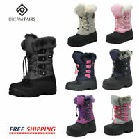 DREAM PAIRS Kids Boys Girls Snow Boots Insulated Faux Fur Lined Winter Ski Boots
