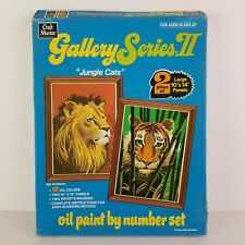 Vintage Paint By Numbers Kit Jungle Cats Lion Tiger Craft Master PBN NOS
