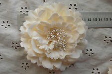 CREAM Flower BROOCH PIN - with HAIR CLIP - Ready to wear - Fabric10-11cm