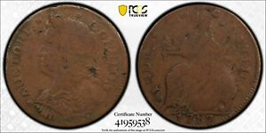 1787 Connecticut Colonial Copper Coin Draped Bust Left PCGS F12