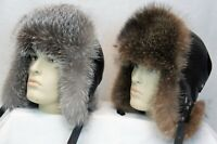 Black REAL SILVER FOX, REAL RACCOON Fur REAL LEATHER Trapper Ushanka Hat S-XXL