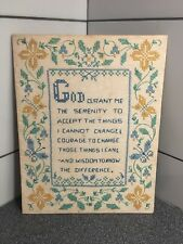 "Vintage Needlepoint 13-1/2�x10-1/2� . ""God Granted Me The Serenity To Accept.�"