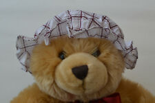Baby Girls Summer Mop Hat 0-2 years Maroon Check 100% Cotton Made in UK