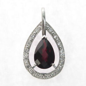 Checkered Garnet Solitaire Pear Sterling Silver Teardrop Pendant 1.5g