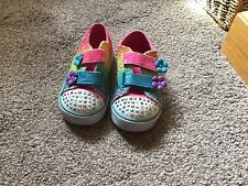 GIRLS TRAINERS/SHOES (SKETCHERS )TWINKLE TOES SIZE 5 RAINBOW COLOUR GC