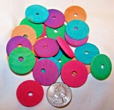 "25 Bird Toy Parts Colored Wood Circle Discs 1"" Wooden Parrot Toy w/ Hole"