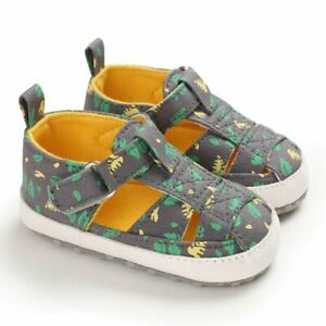 Breathable Canvas Baby Shoes Hollow Out Summer Newborn Leaf Print Infants Sandal