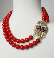 Lulubelles boutique necklace cherry red ceramic beads vintage brooch focal piece